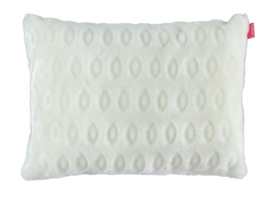 Faux fur pillow CIRCLES cream 40x50 cm