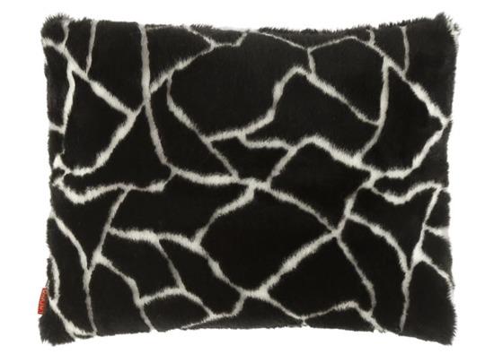 Faux fur pillow GIRAFFE black 40x50 cm