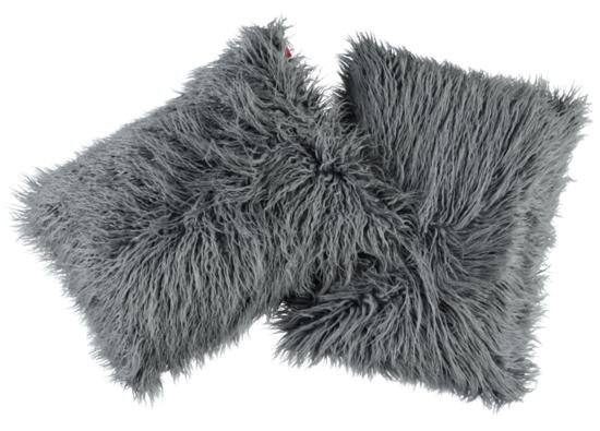 Faux fur pillow LUMA grey 40x50 cm