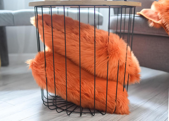 Faux fur pillow SHAGGY orange 40x50 cm