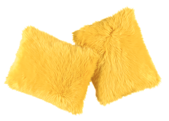Faux fur pillow SHAGGY yellow 40x50 cm