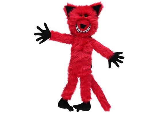 Stuffed fur toy, mascot CRAZY CAT red