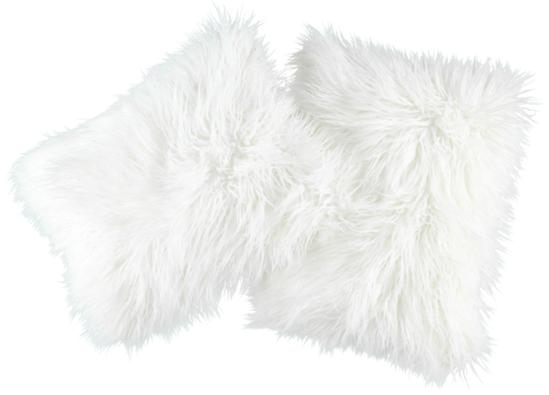 Futrzana poduszka dekoracyjna LUMA biały 50x40 cm