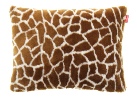Futrzana poduszka dekoracyjna ŻYRAFA brązowy 40x50 cm