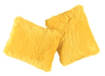 Futrzana poduszka dekoracyjna CZUPER żółty 40x50 cm