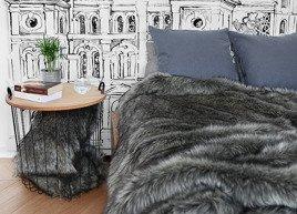 Decorative Faux Fur Set, Bedspread GRANDE PINI and Two Pillows GRANDE PINI