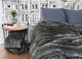 Decorative Faux Fur Set, Bedspread GRANDE PINI brown