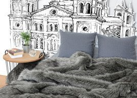 Decorative faux fur bedspread GRANDE PINI grey brown