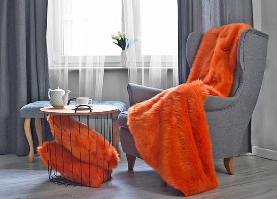 Decorative fur bedspread, blanket MANDARA orange 155x200 cm