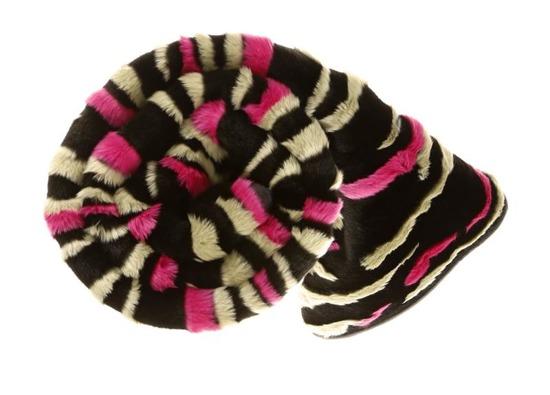 Decorative fur bedspread, blanket NIGHT WAVES black beige pink 150x200 cm