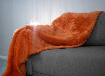 Koc, narzuta MANDARA pomarańczowy 155x200 cm